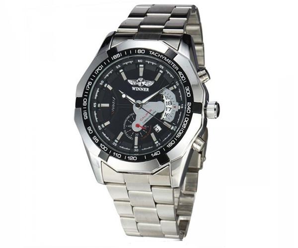 Механические часы с автоподзаводом Winner Сhronometer Black - гарантия 12 месяцев