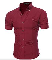 Рубашка мужская с коротким рукавом приталенная (бордовая) код 52, фото 1