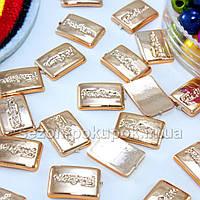 (25 шт) Золотистая серединка,кабошон 9х7мм (пластик)