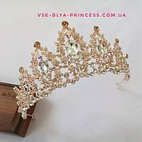 Диадема, корона,  тиара под  розовое золото с камнями,  высота 6,5 см., фото 1