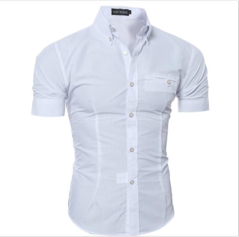 Сорочка чоловіча з коротким рукавом приталені (біла) код 52