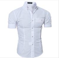 Рубашка мужская с коротким рукавом приталенная (белая) код 52