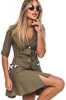 Платье рубашка женское стильное с карманами, платье молодежное осень-весна с рукавом платье нарядное, фото 1
