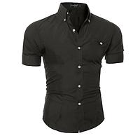 Рубашка мужская с коротким рукавом приталенная (черная) код 52