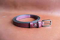 Женский ремень из натуральной кожи с пряжкой, ширина - 15 мм, цвет - бордовый, артикул СК 8038
