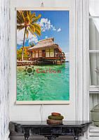 Инфракрасный обогреватель картина Пляж, Бунгало Трио Е 1