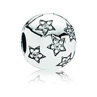 Клипса Pandora Звезды Паве из серебра 925  пробы икубическим цирконием