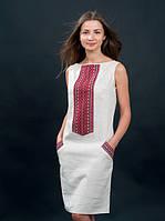 Платья белое вышитое с красной вышивкой