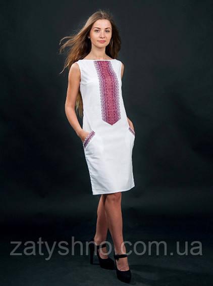 Платья белое вышитое с коротким и длинным рукавом