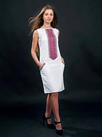 Плаття біле вишите з коротким і довгим рукавом