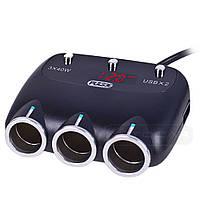 Разветвитель прикуривателя PULSO SC-3003 3 выхода + 2USB 2400 mA 12/24V, фото 1
