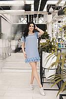 Платье прямого кроя с оборками  и коротким рукавом 17554PL, фото 1