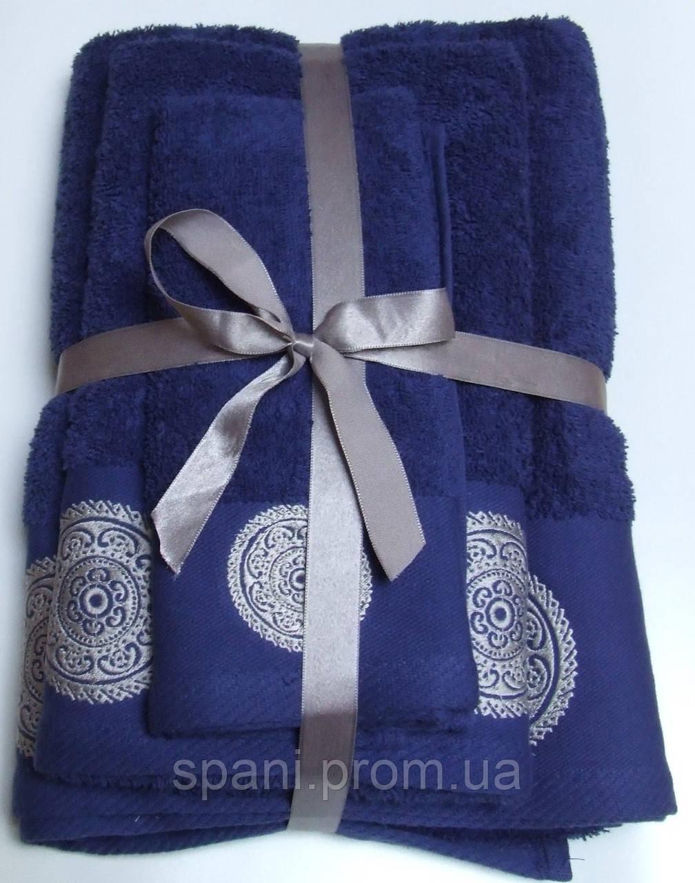 Махровое полотенце Damask, 50*90, 100% хлопок, 550 гр/м2, Пакистан, Синий