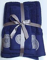 Махровое полотенце Damask, 70*140, 100% хлопок, 550 гр/м2, Пакистан, Синий