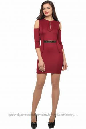 Сукня жіноча облягає по фігурі колір марсал, сукня міні ошатне молодіжне з відкритими плечима