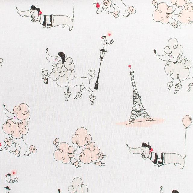 Детская простынь на резинке в кроватку BabySoon Париж цвет пудры 120х60 см