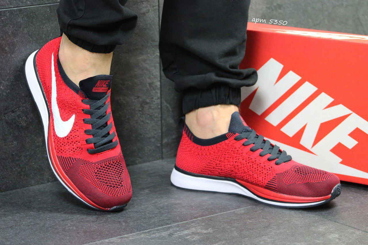 Мужские кроссовки Nike Flyknit Racer,сетка,красные