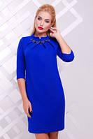 Платье женское синего цвета осень-весна, платье большого размера, платье свободного кроя