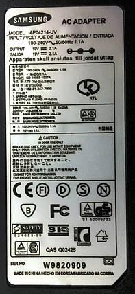Блок живлення для ноутбука Samsung 19V 40W 2.1A (5.5*3.0), фото 2