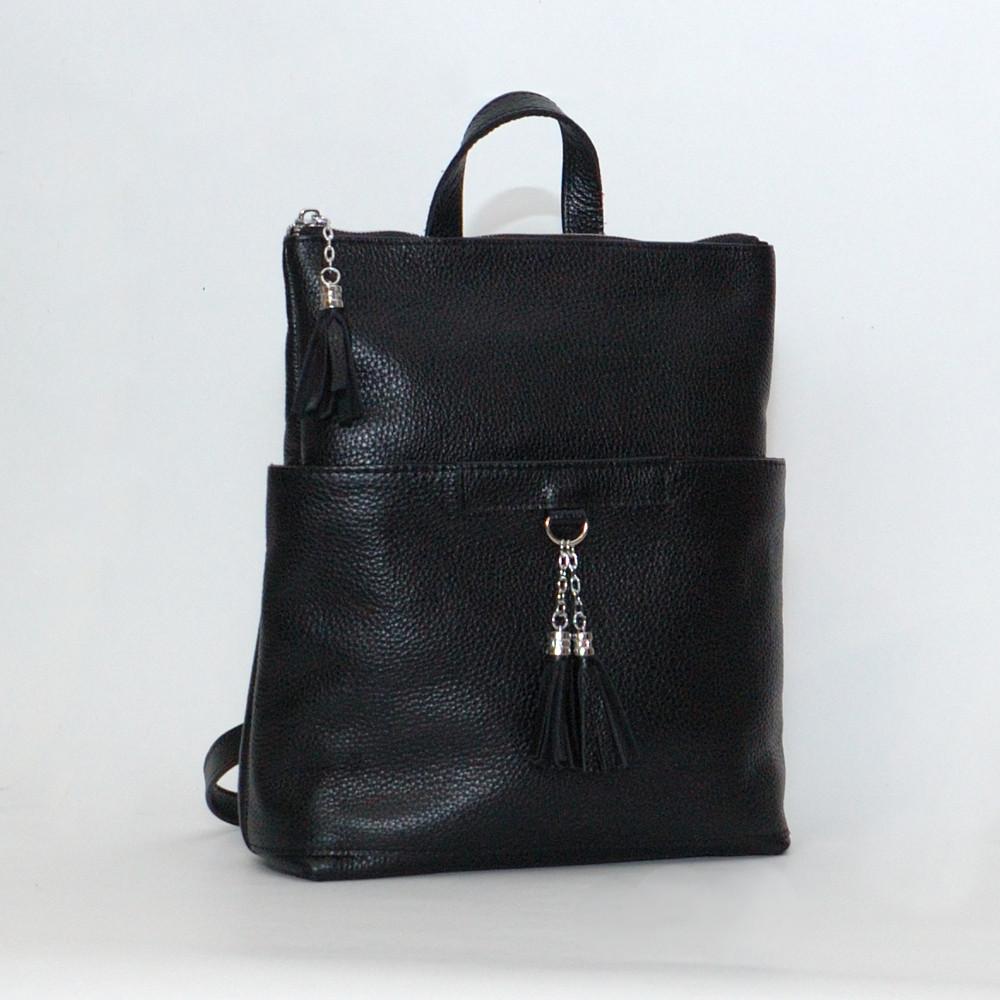 Городской рюкзак-трансформер кожаный 05 черный флотар 02050101