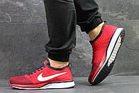 Молодежные красные кроссовки Nike Flyknit Racer, из сетки, мужские (Реплика)