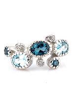 """Кольцо серебряное с голубым топазом и топазом """"London Blue """""""