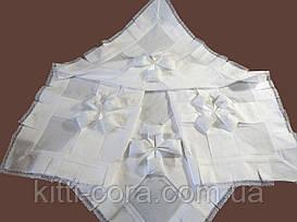 Авторская крестильная крыжма квадратная с рюшами, кружевом и бантами. Модель Оранта