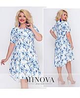 Женское платье с цветочный принтом. Размер 50, 52, 54. Ткань летний креп. В наличии 2 цвета, фото 1