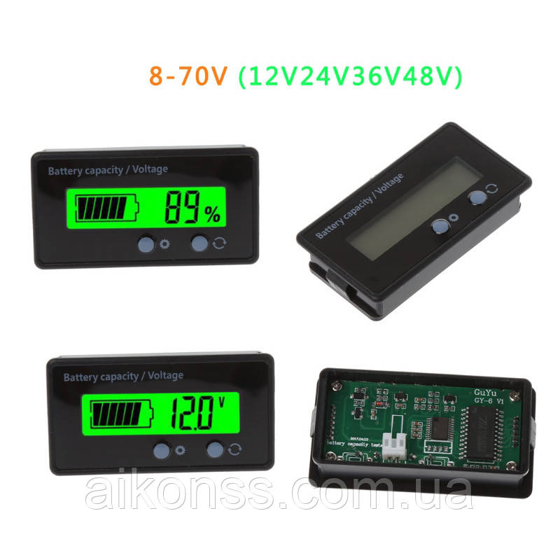 8-70 вольт Універсальний Цифровий рк - індикатор батареї тестер ємності