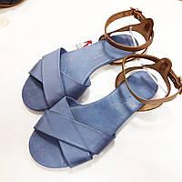 Голубые кожаные сандалии Donna Italia