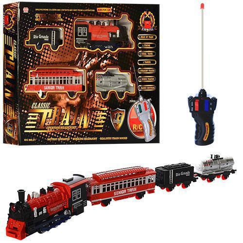 Залізна дорога 41, на радіокерування, локомотив, вагон 3 шт., музика, світло, в коробці, 50-37,5-7 см.