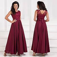 Шикарное выпускное длинное вечернее платье марсала размер М