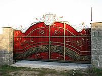 """Ворота с калиткой внутри. Ручная ковка. Качественная покраска эмалью """"Снежка"""""""