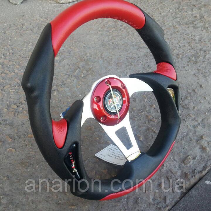 Руль спортивный Momo №570 красного цвета.