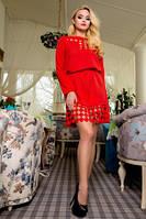 Платье женское красного цвета нарядное, платье молодежное мини