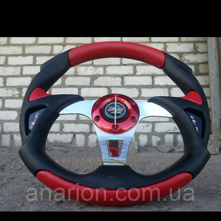 Руль Momo -Вираж №570 красного цвета с переходником на ВАЗ 2105.
