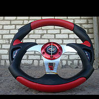 Руль Momo -Вираж №570 красного цвета с переходником на ВАЗ 2105., фото 1