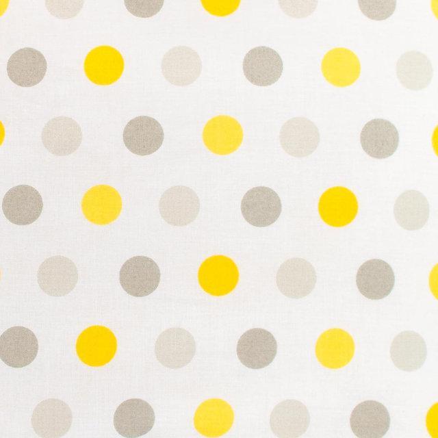 Детская простынь на резинке в кроватку BabySoon хлопок Горох серый и желтый 120х60 см