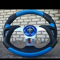 Руль Вираж №570 синего цвета с переходником на ВАЗ 2110.