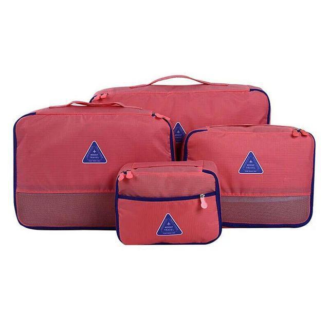 Набор из 4 сумок органайзеров, коралл ( дорожный органайзер )