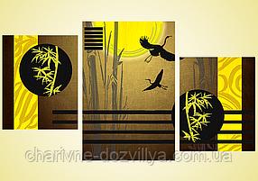 """Схема-триптих для вышивки бисером на атласе """"Журавлиный Танец"""""""