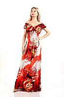 Вечернее яркое платье в пол с в образным вырезом