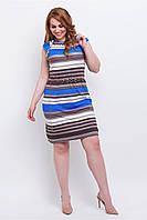 Легкое женское платье больших размеров из трикотажа с карманами 90161/1
