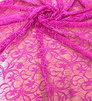 Гипюр (ш 150 см) розовый для пошива одежды ,оформления оконного дизайна, для рукодельниц .