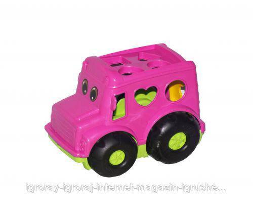 Сортер-автобус Бусик №1 (розовый) 0244