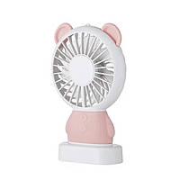 Настольный мини вентилятор SUNROZ MINI FAN c аккумулятором 800 mAh Bear USB Розовый (SUN0701)