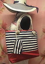 Пляжная женская сумка в полоску в комплекте с кошельком