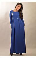 Платье женское длинное в пол синего цвета теплое с длинным рукавом красивое, платье с кожаными вставками, фото 1