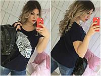 Женская футболка с пером большого размера СЦ28852, фото 1
