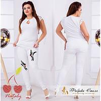 Белые брюки. джинсы с Птичкой. бльшие размеры